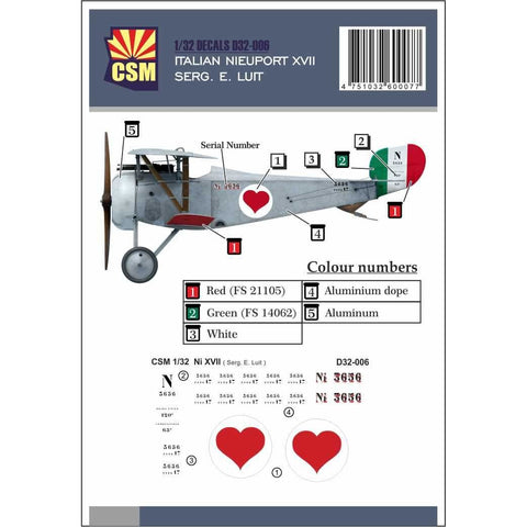 COPPER STATE MODELS DECAL Nieuport XVII, Serg. E. Luit pers