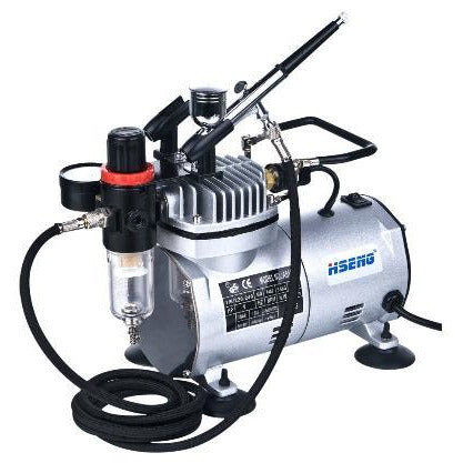 HSENG AIR COMPRESSOR KIT INCL. HOSE & HS-30 AIRBRUSH