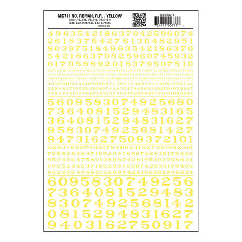 WOODLAND SCENICS Numbers Roman R.R. Yellow