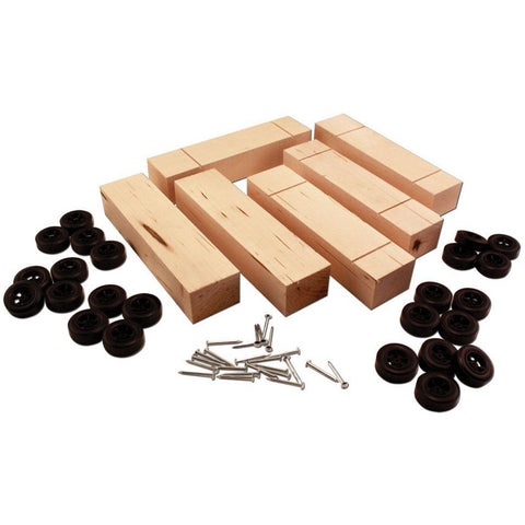 WOODLAND SCENICS 6-Pack Basic Block with Wheels & Nail-type Axles