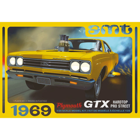 AMT 1:25 1969 Plymouth GTX HardTop Pro Street 2T Drag Plast