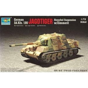TRUMPETER 1/72 GERMAN JAGDTIGER WITH 88MM /L71 PLASTIC MODE