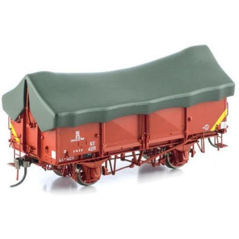 AUSCISION GY Wagon VR Wagon Red with Yellow Tarp 6 Car Pack
