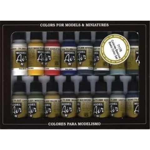 Vallejo Model Air Basic Colors 16 Colour Set (AV71178)