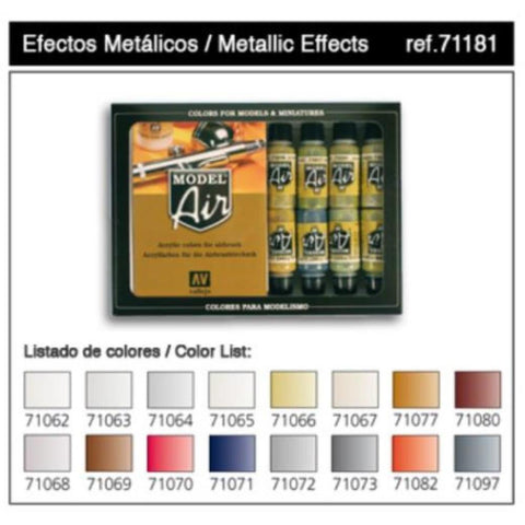 VALLEJO Model Air Metallic Effects 16 Colour Set