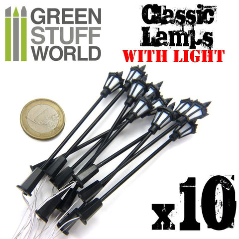 GREEN STUFF WORLD Plastic Classic Lamps 8,50cm - Pack x 10
