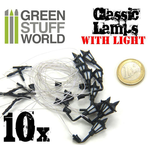 GREEN STUFF WORLD Plastic Classic Wall Lamps Pack x 10