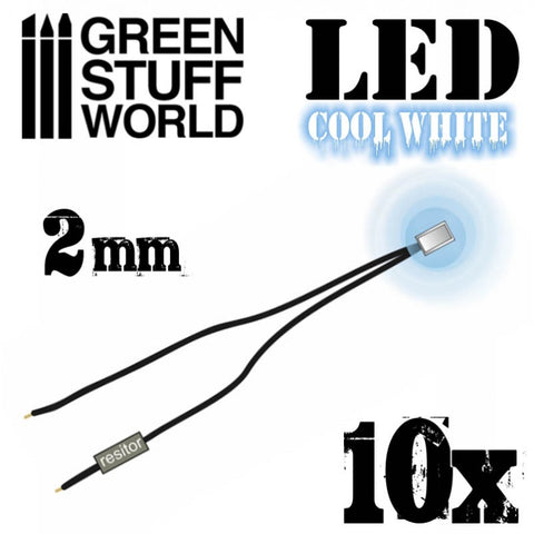 GREEN STUFF WORLD Micro LEDs - Cool White Lights - 2mm (080