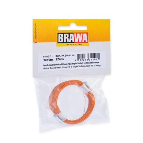 BRAWA Flexible Decoder Wire, 0.05 mm², Orange