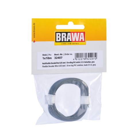 Image of BRAWA Flexible Decoder Wire, 0.05 mm², Grey