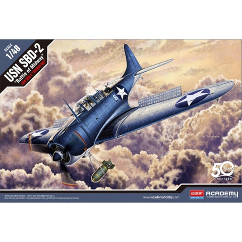 "ACADEMY 1/48 USN SBD-2 ""Battle of Midway"" Plastic Model Kit"