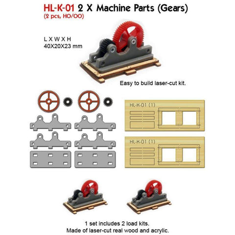 Image of PROSES HO/OO 2 X Machine Parts (Gears) (Kit)