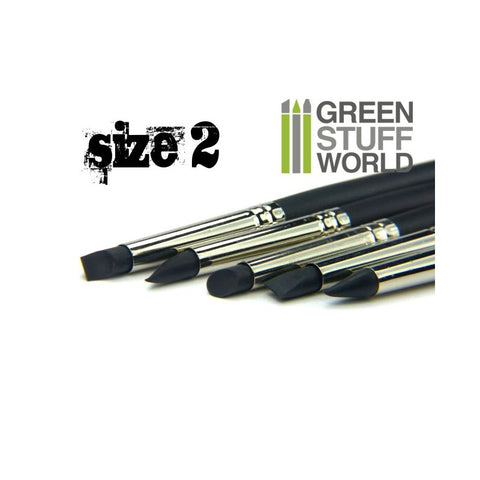 GREEN STUFF WORLD Colour Shapers Brushes Size 2 - Black Fir