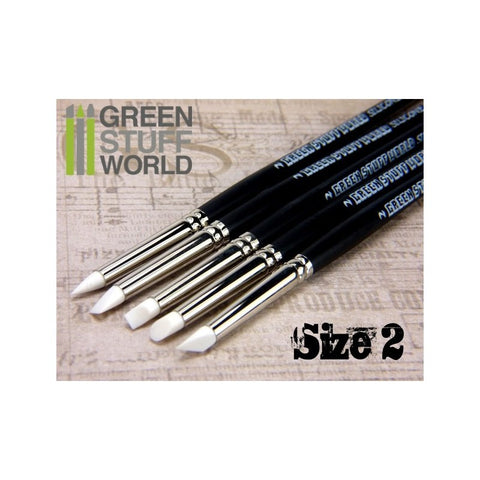 GREEN STUFF WORLD Colour Shapers Brushes Size 2 - White Sof