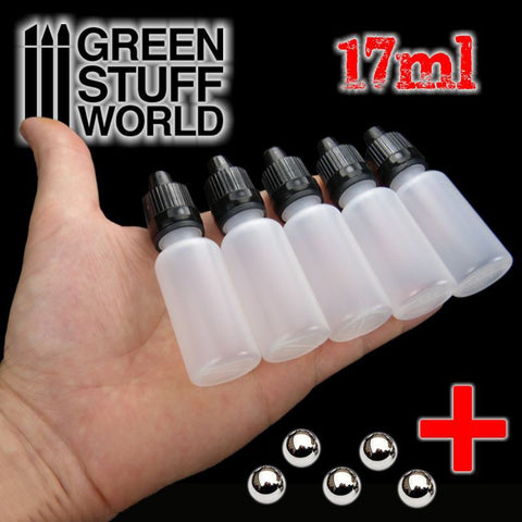 GREEN STUFF WORLD 17ml Empty Paint Pots + Balls - 5 pc