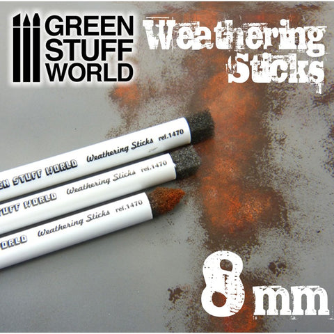 GREEN STUFF WORLD Weathering Brushes 8mm (set 3pc)