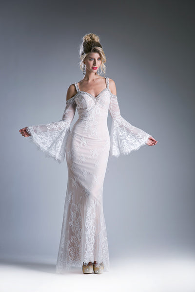 Long Lace Dress with Batwing Sleeves