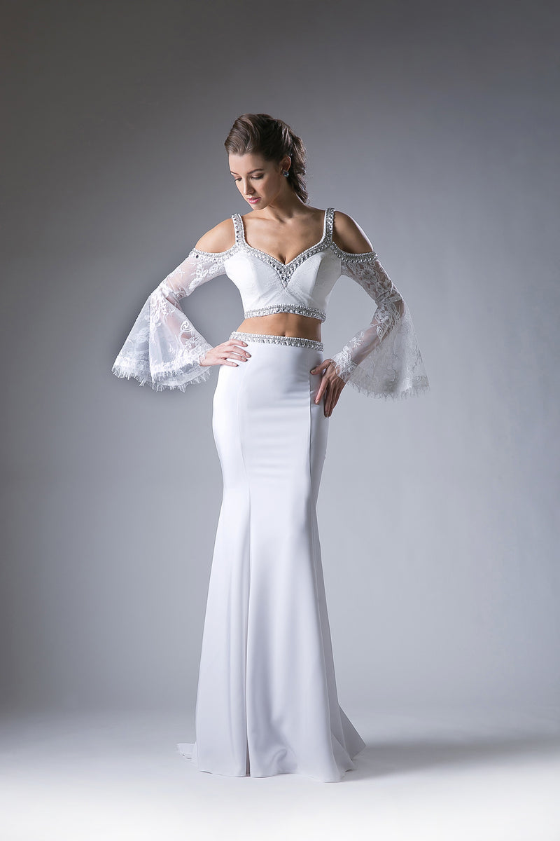 Two Piece Dress Featuring Austrian Crystal & Sheer Lace Sleeves Style #CA13114