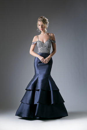 Layered Satin Mermaid Gown with Lace Embroidery Style #CA13115