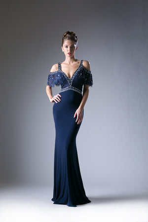 Off Shoulder Navy Gown with Lace Batwing Sleeves Style #CA13119