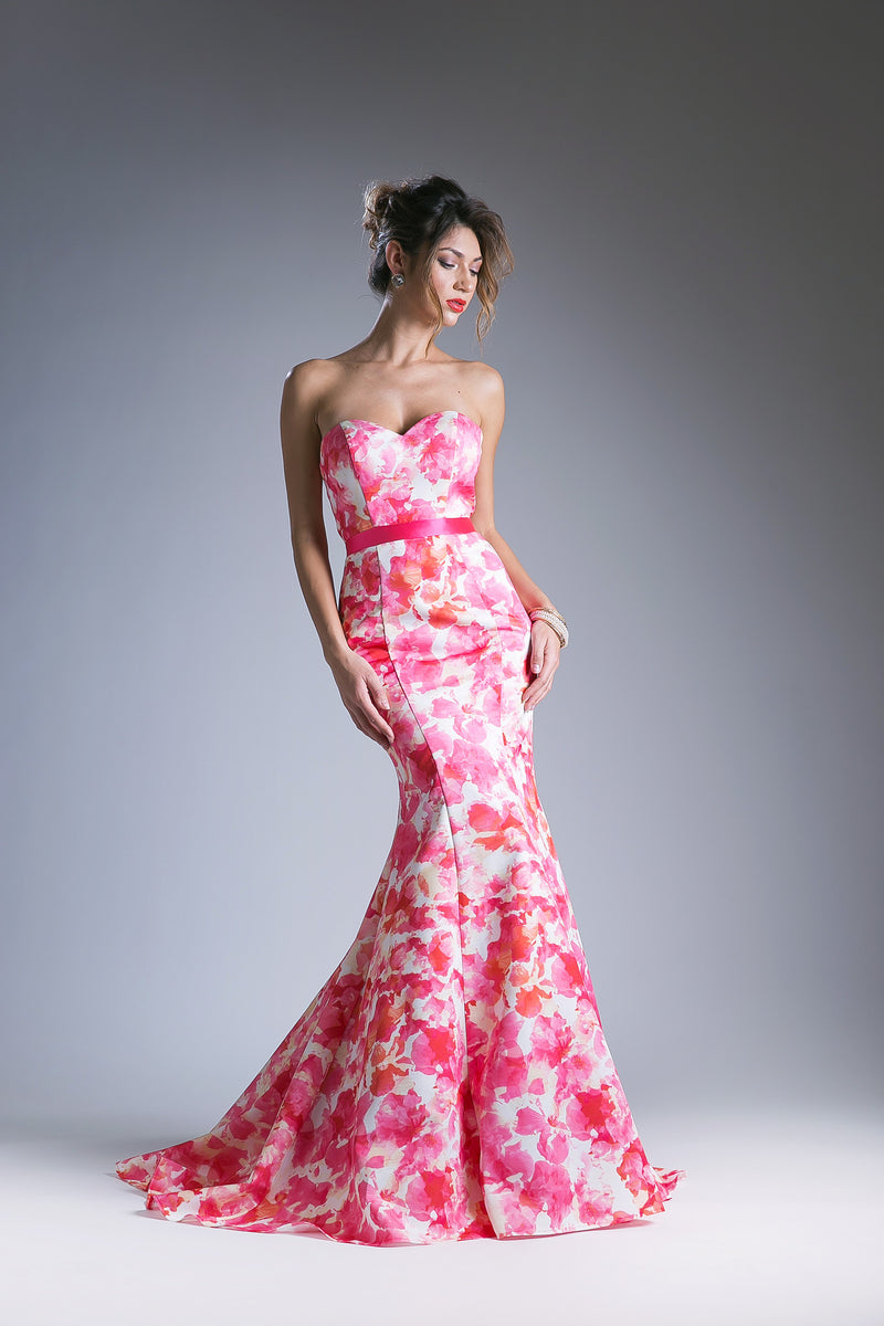 Pink Floral Gown with a Sweetheart Neckline Style #CA13358