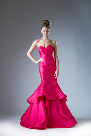 Off Shoulder Layered Satin Gown with Sweetheart Neckline