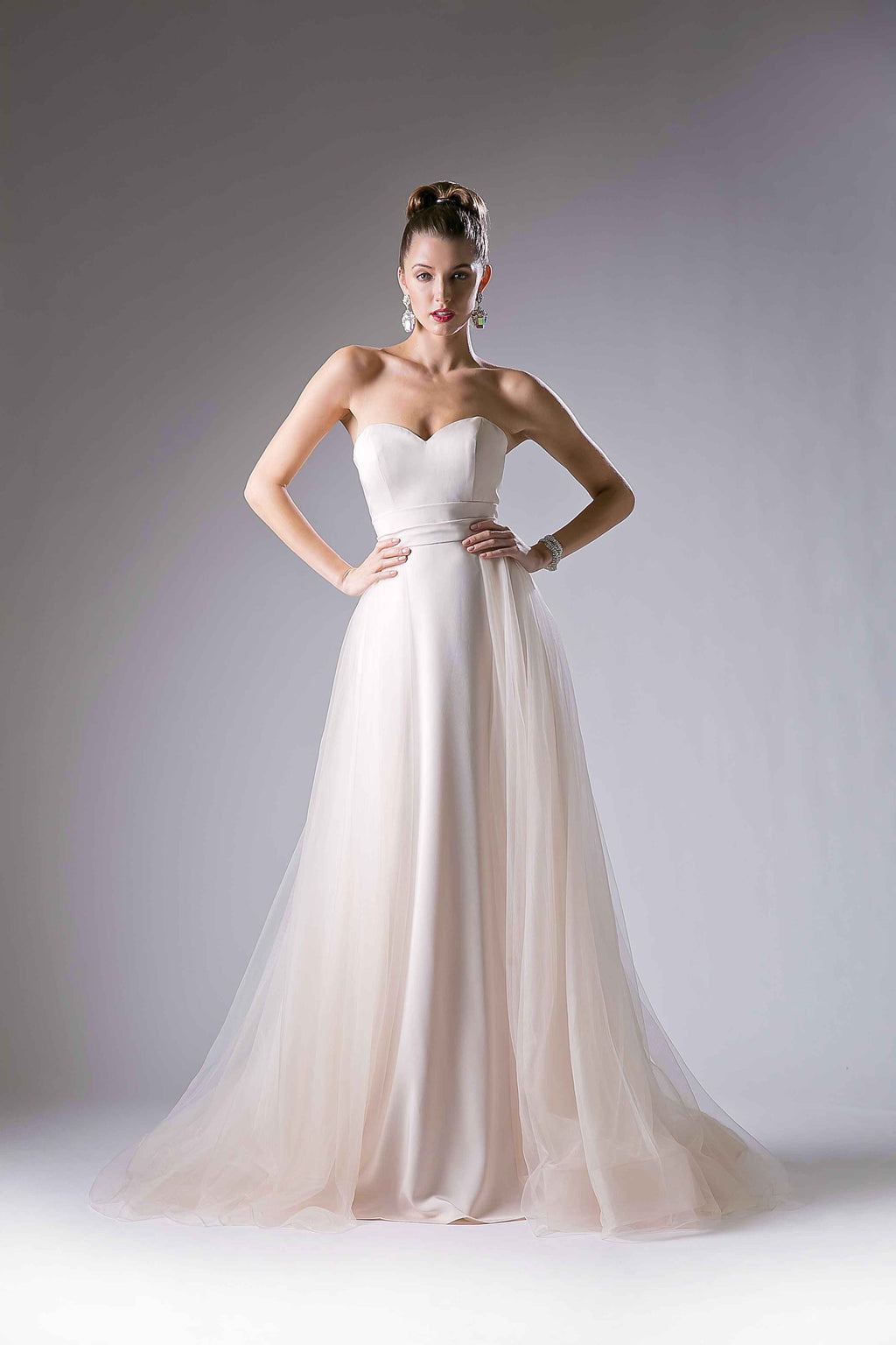 Flowing Satin Dress with Sweetheart Neckline Style #CA13492