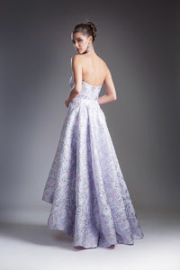 Off Shoulder Lilac Floral Ball Gown Style #CA13554