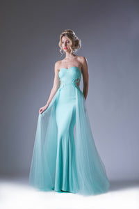 Long Flowing Chiffon & Sheer Dress Style #CA15110