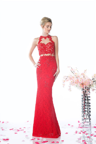 LACE LONG DRESS WITH BEAUTIFUL FLOWER EMBROIDERY STYLE #CND1586