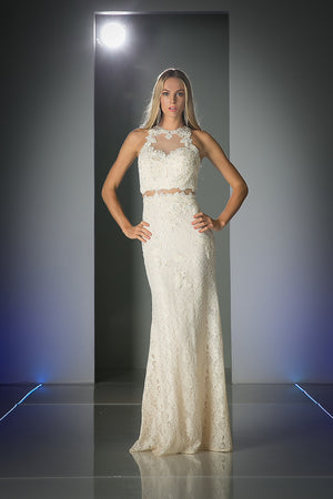 LACE LONG DRESS WITH BEAUTIFUL FLOWER EMBROIDERY STYLE #CND1586 - NORMA REED - 3