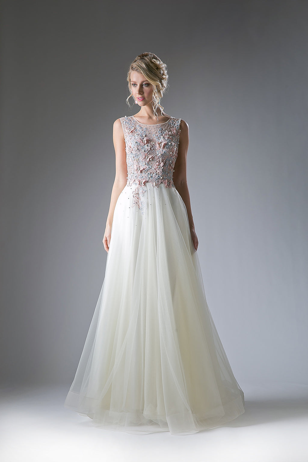 Floral Lace & Faux Pearl Embroidered Flowing Gown Style #CA1652
