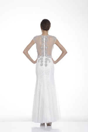 Long Dress with Lace on Sheer Embroidery Style #CA31