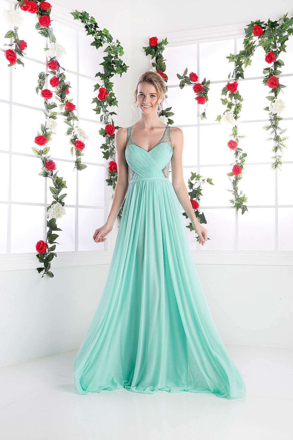 LONG CHIFFON DRESS WITH CRYSTAL STRAPS ON SHEER STYLE #CND5061 - NORMA REED - 1