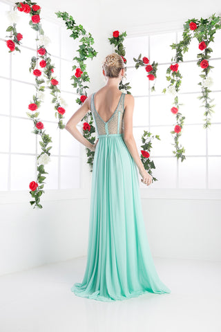 LONG CHIFFON DRESS WITH CRYSTAL STRAPS ON SHEER STYLE #CND5061