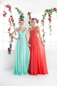 LONG CHIFFON DRESS WITH CRYSTAL STRAPS ON SHEER STYLE #CND5061 - NORMA REED - 11