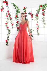 LONG CHIFFON DRESS WITH CRYSTAL STRAPS ON SHEER STYLE #CND5061 - NORMA REED - 12