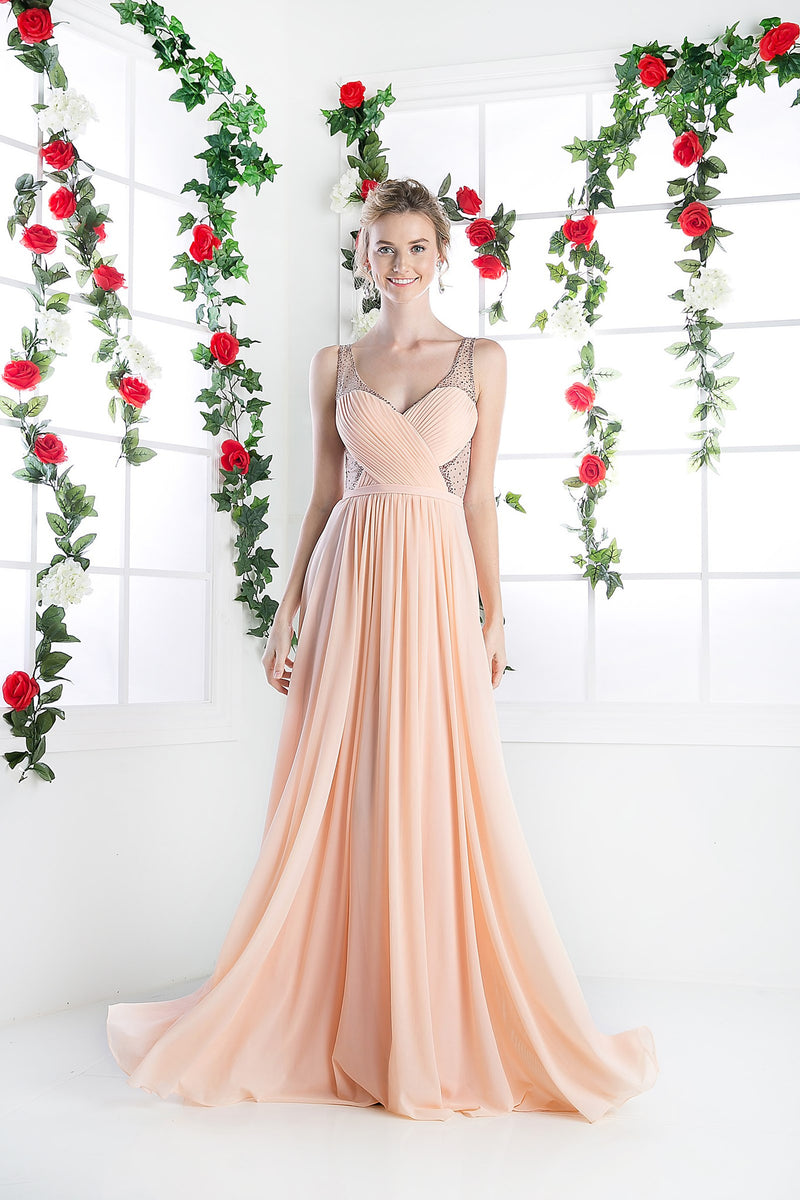 LONG CHIFFON DRESS WITH CRYSTAL STRAPS ON SHEER STYLE #CND5061 - NORMA REED - 4