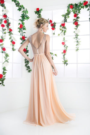 LONG CHIFFON DRESS WITH CRYSTAL STRAPS ON SHEER STYLE #CND5061 - NORMA REED - 5