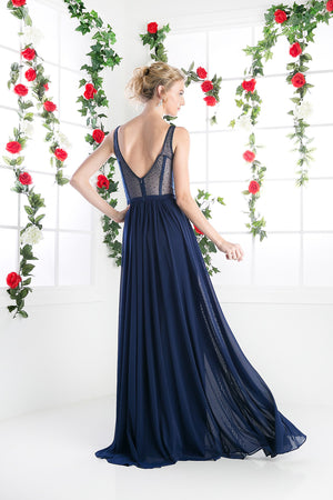 LONG CHIFFON DRESS WITH CRYSTAL STRAPS ON SHEER STYLE #CND5061 - NORMA REED - 7