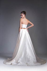 Two Piece Flowing Satin Dress with Train Style #CA5133