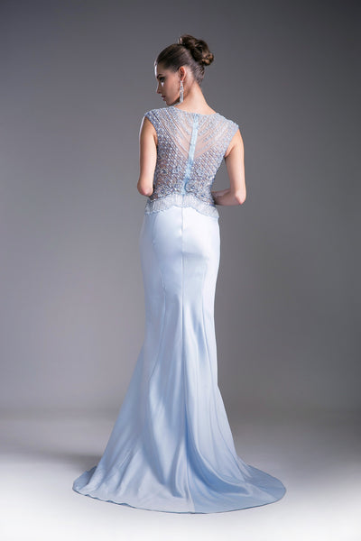 Ice Blue Satin Gown with Austrian Crystal Embroidery Style #CA5297