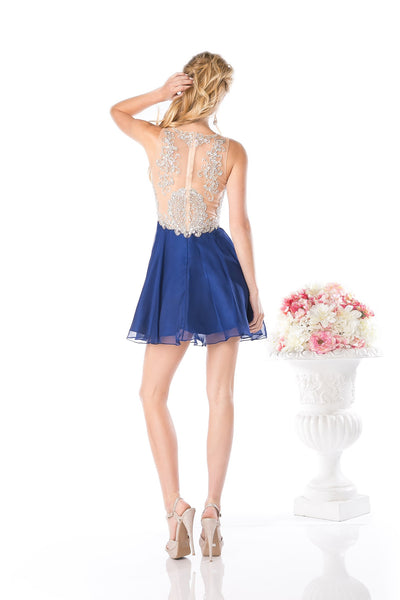 SHORT PROM DRESS WITH CRYSTAL & LACE EMBROIDERY STYLE #CND56S