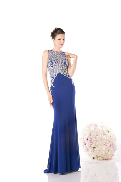 LONG CHIFFON DRESS WITH LACE AND CRYSTAL EMBROIDERY STYLE #CND61073
