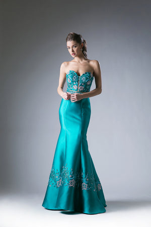 Long Two Piece Strapless Satin Mermaid Gown