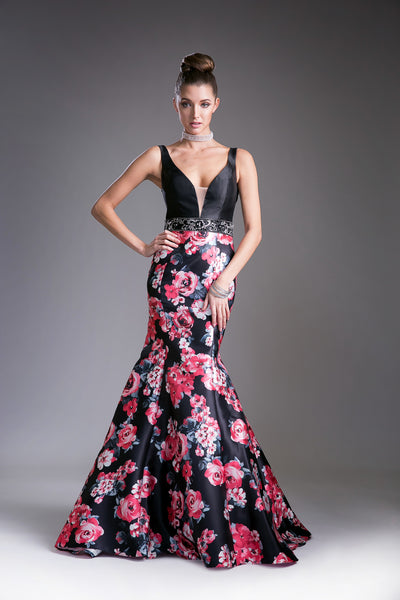 Floral Print Mermaid Dress with Open Back Style #CA62214