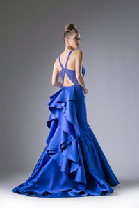 Layered Train Satin Gown Style #CA62334