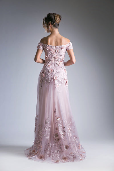 Lace Embroidered Off Shoulder Floral Ball Gown