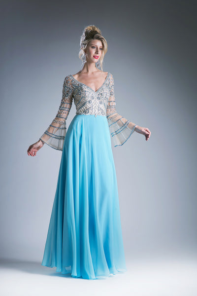 Sky Blue Chiffon Gown with Austrian Crystal Embroidery & Sheer Sleeves Style #CA71190