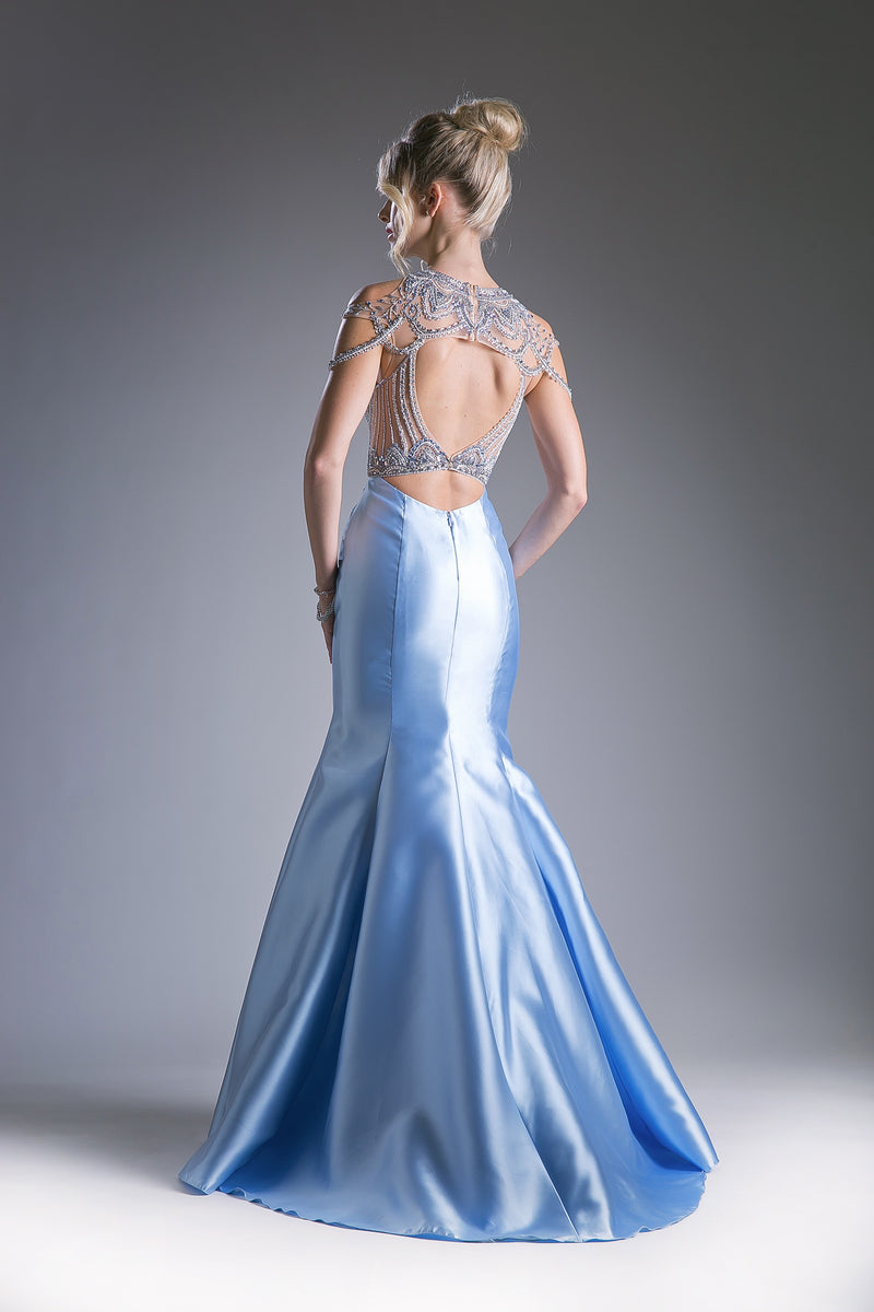 Satin Mermaid Gown with Stunning Austrian Crystal Stone Work Style #CA71297